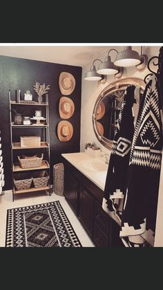Do you love to decorate with old hats? My Bathroom makeover is complete and I'm so excited to show y'all! I have always saved Ron's hats… Western Bathroom Decor, Western Bathrooms, Western Rooms, Western Décor, The Design Files, My New Room, Bathroom Inspiration, Home Remodeling, New Homes