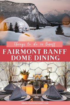 The iconic Fairmont Banff Springs in the Canadian Rockies has launched a new private outdoor dining experience: the 360° Dome. Located on the picturesque Upper Garden Terrace, the 360° Dome is surrounded by panoramic views of the Canadian Rockies and the 132-year-old Fairmont Banff Springs Hotel. #Banff | Banff| Banff Travel | Banff Things To Do | Banff Vacation | Banff Weekend | What to do in Banff | Banff Attractions | Alberta | Canadian Rockies | Canada Travel | Banff Trip | Fairmont Alberta Travel, Banff Alberta, Canadian Travel, Canadian Rockies, Travel Advise, Travel Articles, Travel Ideas, Travel Inspiration, Travel Tips