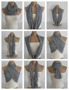 Hand knitted silver gray and black elegant scarf by Arzus on Etsy, $29.90