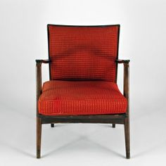 Ole Wanscher Style Armchair, Brown wooden frame & red textile cushions