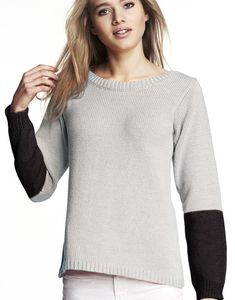 modèle de pull manches longues bi-colores femme facile à tricoter