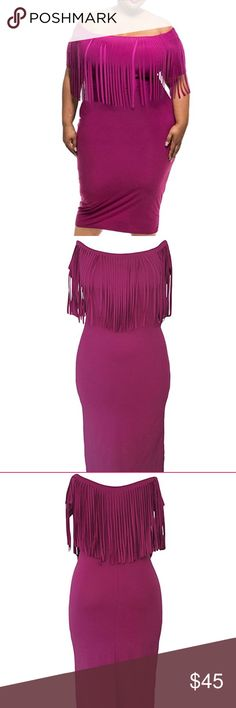 🆕 Womens plus Fringe Top Bodycon Dress Description A woman in full-figured looking also could be very sexy in an effortless way, just add this Short Sleeve Fringe Top Plus Size Dress to your wardrobe. Dress made by great stretch fabric and is close-fitting to the body in a cozy style. Sexy elegant off shoulder design with fringe detail on top, short sleeves and lengthens your silhouette with calf length cut. Dresses Midi