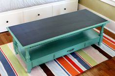 Painted coffee table with chalkboard top.  The 2 Seasons