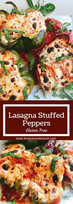 A healthier and gluten free twist on lasagna! Bell peppers are layered with ricotta cheese mixture, sauce, and zucchini for a tasty lasagna! Easy to customize and perfect for the colder weather in fall and winter. Hearty comfort food. | Three Olives Branch | Lasagna Stuffed Peppers | www.threeolivesbranch.com
