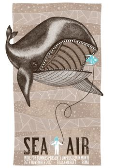 Sea + Air Gig Poster Design by: Sabrina Gabrielli. Creative Design, Design Art, Graphic Design, Whale Art, Illustrations And Posters, Rock Art, Illustration Art, Branding, Art Prints