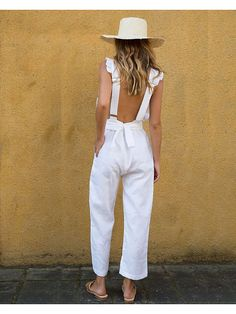Frills have more fun This is a ready to wear jumpsuit with an adjustable waist tie Frilled trim through front bodice Cropped ankle length Open back Side pockets Adjustable tie waist feature Relaxed fit through pant Invisible back zip entry Large - # Plus Size Jumpsuit, White Jumpsuit, Mode Outfits, Fashion Outfits, Womens Fashion, Cute Casual Outfits, Summer Outfits, Summer Clothes, Look Street Style