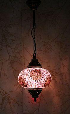 Turkish Moroccan Style Mosaic Hanging Lamp Light Hand Made 17 cmLarge Globe
