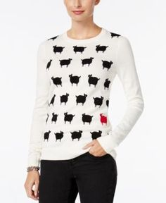 Charter Club Petite Sheep Graphic Sweater, Only at Macy's - White P/XL