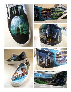 This is the second of my Harry Potter shoes which are painted on white canvas vans in basic acrylic paint. I used gesso to prime the shoes and a matte v. On Shoes, Me Too Shoes, Shoes Style, Harry Potter Shoes, Creative Shoes, Hand Painted Shoes, Mischief Managed, Shoe Art, Custom Shoes