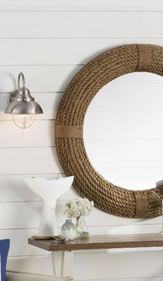 Discover the absolute best rope mirrors and nautical mirrors for your coastal home! We love adding mirrors to our nautical wall decor to complete a beach home. We have round, rectangle, square, and rope hanging mirrors. Nautical Bathroom Mirrors, Nautical Mirror, Nautical Lamps, Nautical Wall Decor, Round Mirror With Rope, Rope Mirror, Rope Frame, Round Mirrors, Hanging Mirrors