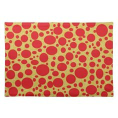 Red Bubbles Gold Background Placemat