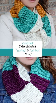 Crochet Color Blocked Infinity Scarf Pattern:: Rescued Paw Designs