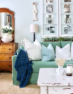 Modern Sofa Charming shabby chic living room with a green linen sofa and a wall gallery Cindy