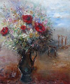 reuven rubin | Artwork by Reuven Rubin, Landscape with Vase of Flowers, Made of Oil ...