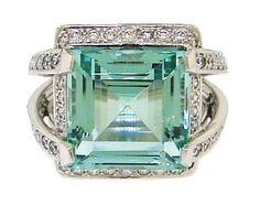 BOUCHERON Green Aquamarine, Diamond & White Gold Cocktail Ring | From a unique collection of vintage cocktail rings at https://www.1stdibs.com/jewelry/rings/cocktail-rings/