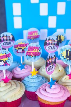 Cupcakes from a Girly Superhero Birthday Party via Kara's Party Ideas KarasPartyIdeas.com (18)