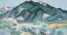 Georgia O'Keeffe Landscape Paintings | ... Mountain New Mexico 1930 - Georgia O'Keeffe reproduction oil painting