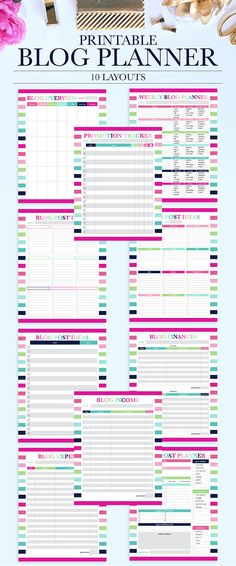 This item is a printable blog planner and with 8 pages with