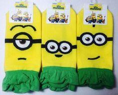 New Unisex Despicable Me Hawaiian Minions Character Banana Cotton Socks_3options