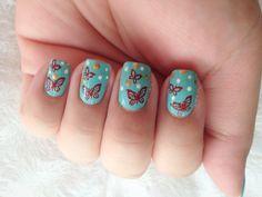China Glaze Aquadelic stamped with Konad butterflies