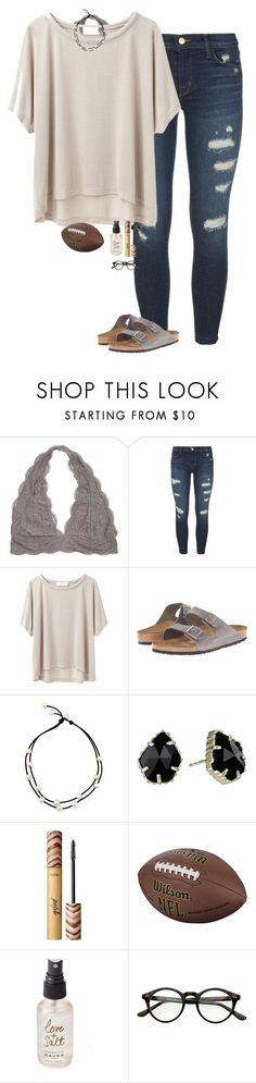 """Super Bowl LII "" by halledaniella ❤ liked on Polyvore featuring J Brand, Grey Line By Hussein Chalayan, Birkenstock, Kendra Scott, tarte and Olivine"