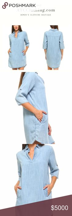 Long Sleeve Denim Pocket Dress This long sleeve denim dress is the perfect look for fall. It has a collar and v-neckline. Also, pockets for those days you just don't want to wear a purse.   100% Tencil ATC Clothing Dresses Mini