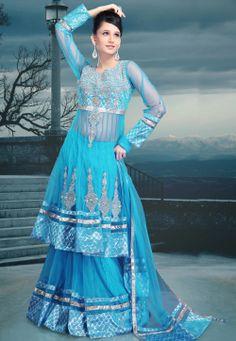 Sky #Blue Net #Lehenga Choli with Dupatta @ $392.05