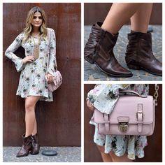Inspiração da tarde! Vestido com bota cano curto fica um look moderno, feminino e despojado! Eu adoro! 