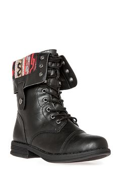 Tribal Lined Combat Boots in Black 5.5 - 7 | DAILYLOOK