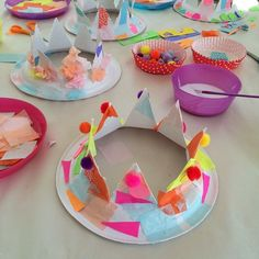 paper crowns today inspired by Diy For Kids, Crafts For Kids, Arts And Crafts, Paper Plate Crafts, Paper Plates, Castle Crafts, Crown For Kids, Paper Crowns, World Crafts