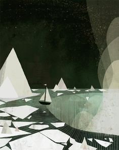 Jon Klassen, illustration, children's books, ship, waterfall lots of black.totally awesome illustrations by Klassen (of course) Jon Klassen, Art And Illustration, Claude Monet, Poster Art, All Nature, Art Graphique, Niagara Falls, Graphic Art, Design Art