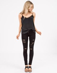 863af401011f2f Casual all black outfit black women tank tops with black high waisted  ripped jeans with black