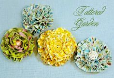 Flores de tela: http://www.sew4home.com/projects/fabric-art-accents/tattered-flowers-embellishment