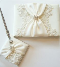 Wedding Guest Book And Pen Set With Beaded Alencon By Jlweddings 114 50