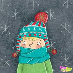 Junge mit Rotznase. Winter mit Mütze und Schal. Charakterdesign. Illustration Doodle Zeichnung von Sandy Thissen #illustrationfürkinder #illustration #zeichnung #zeichnen #winter #winteroutfit #strickschal