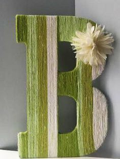 Wooden Letter covered in Cotton Yarn, with a cream flower embellishment. Cute Crafts, Crafts To Do, Yarn Crafts, Arts And Crafts, Diy Crafts, Diy Letters, Letter A Crafts, Wood Letters, Cover Letters
