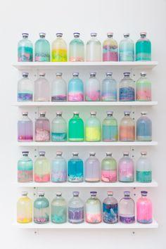 Louise Zhang  | Artereal Gallery - SLOSH SAMPLES #2 2014 flubber, pva glue, acrylic, oil paint, resin plastics, polymer balls, polymer clay, pigment, water, varnish, 100ml serum vials.