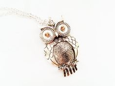 Silver long owl necklace with yellow zircons by MKedraHandmade