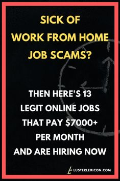 13 Best Work from Home Jobs that Hire Fast & Pay Good - Luster Lexicon Does making a liveable income online sound good to you? These are the 13 best work from home jobs that hire fast and pay good in Ways To Earn Money, Earn Money From Home, Way To Make Money, Earn Money Online, Money Fast, Legit Online Jobs, Online Jobs From Home, Work From Home Companies, Work From Home Opportunities