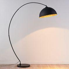 Lampadaire courbé Jonera, noir et doré Curved Floor Lamp, Black Floor Lamp, Black Lamps, Floor Lamps, Indian Lamps, Copper Table Lamp, Deco Luminaire, Ikea Lamp, Lamp Makeover