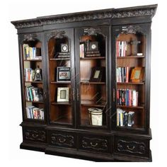 4 Door Arched Black Hand Rubbed Display Bookcase