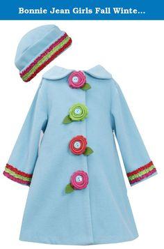 Black 4T Bonnie Jean Girls Black Panel Flower Fleece Coat /& Hat Set 2T