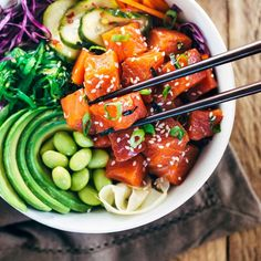 Celebrate summer with these irresistible spicy sockeye salmon poke bowls! Healthy protein infused with Japanese inspired flavors for a gourmet meal!