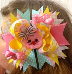 EASTER HAIRBOWS Pink Lavender Yellow and Aqua  by BumbleBeeBowTeek, $8.50