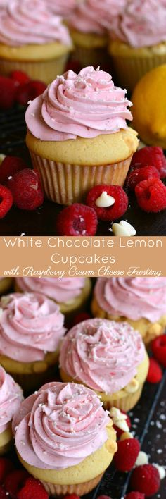 White Chocolate Lemon Cupcakes with Raspberry Frosting. Raspberry, lemon, and white chocolate flavors compliment each other beautifully in this luscious cupcake and that frosting...PURE HEAVEN!