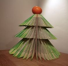 How to turn an old, unwanted hardback into a small Xmas tree. Can work as a table display, in lieu of an Xmas card (plenty of space on the inside cover for a message), or, if you are of the Humbug school, your entire Xmas decoration ensemble This is the basic tree, you could of course carry on with baubles, tinsel, leds, stars and fairys....go wild...