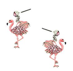 Pink Flamingo Rhinestone And Enamel Dangle Earrings Flamingo Outfit, Flamingo Gifts, Flamingo Decor, Pink Flamingos, Pink Bird, My Spirit Animal, Calla Lily, Silver Enamel, Dangle Earrings