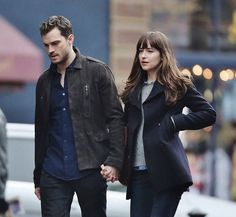 Christian and Ana walking on the sidewalk in Seattle.Tomorrow FS will be filming with several cast for the Pub scene. Stay tuned for updates on set.