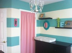 Turquoise Striped and Pink Nursery