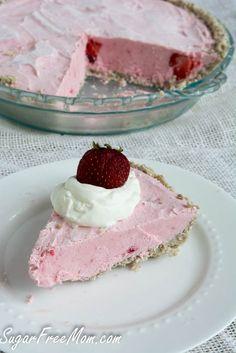 Gluten free, sugar free, nut free, frozen strawberry cheesecake pie. (sugarfreemom). Can sub other berries.